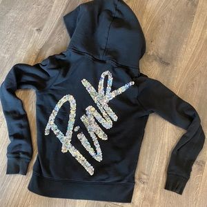 Pink Victoria's Secret Black Sequin Zipper Hoodie